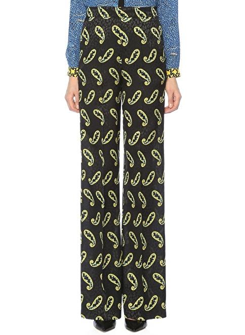 Etro Yüksek Bel Bol Paça Desenli Pantolon Siyah